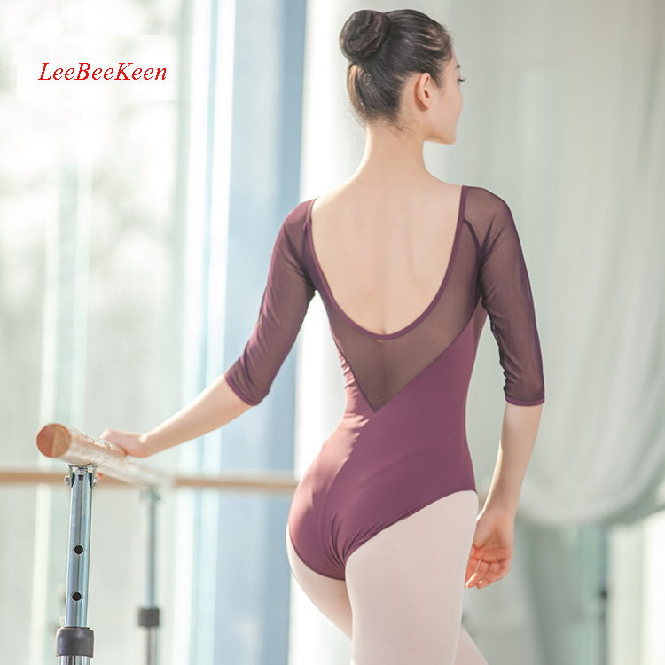 Half Sleeve V Back Gymnastics Leotard Bailarina Leotard Women Ballet Dance Leotards Ballet Adulto Costume Ballet Dress For Girls