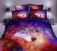3D Star Galaxy Wolf Bedding Sets Sexy Animala Print Quilt Comforter Cover Pillow Cases 3 4