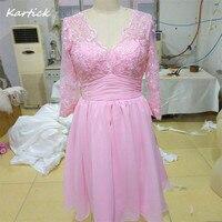 2017 Glamorous Real Evening Dresses With Sleeves Elegant Pink V Neck Women Girls Wedding Party Bride