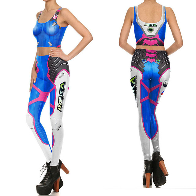 d8177c500cc77 Womens Game Ow Dva Cosplay Costume Slim Games Tops Pants Over D.va Blue  Leggings