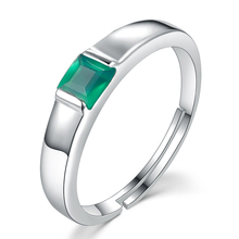 LAMOON Fine Jewelry Classic Rings 0.23ct Green Agate Chalcedony 925 Sterling Silver Jewelry Wedding Party Accessories LMRI006