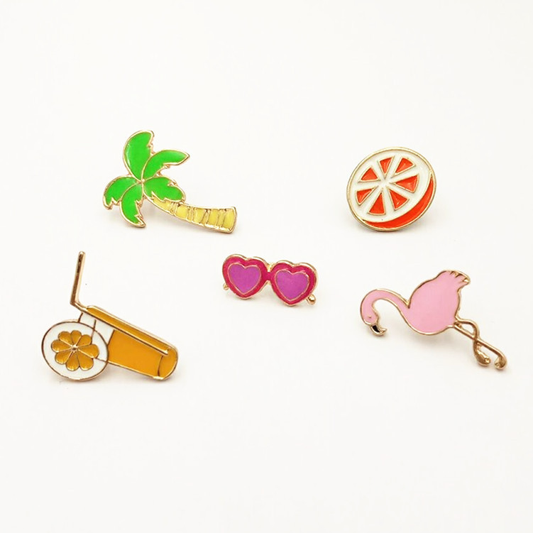5pcs/set Summer cool set fruit orange juice coconut tree cranes orange glasses women drop drops brooches Wholesale