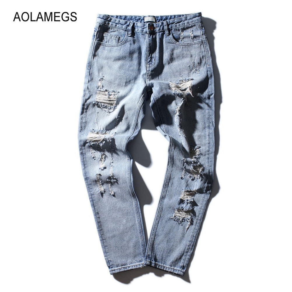 где купить Aolamegs Men Jeans Destroyed Hole Jean Pants Fashion Design Twill Striped Printing Jeans 2017 New Distressed Denim Trousers S-XL по лучшей цене
