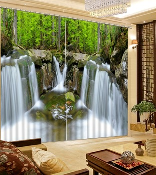 2019 European style Window 3D Curtains For Living room Wedding room Bedroom Waterfall stone 3d Curtain