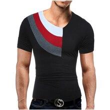 Men Leisure Brand 2017 Summer Fashion Men Collar Patchwork Design Men'S T-Shirts T Shirt Men Short Sleeve Slim Male Tops XXL