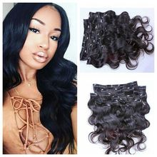 Free Shipping Body Wave Human In Hair 100g Clip Hair Extensions Wave Brazilian Virgin Clip In Hair Extensions Human In Hair