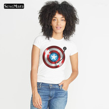 SexeMara Get This  A Shield T-shirt Captain America Tops Tees Avengers Team - Distressed Women T-Shirt