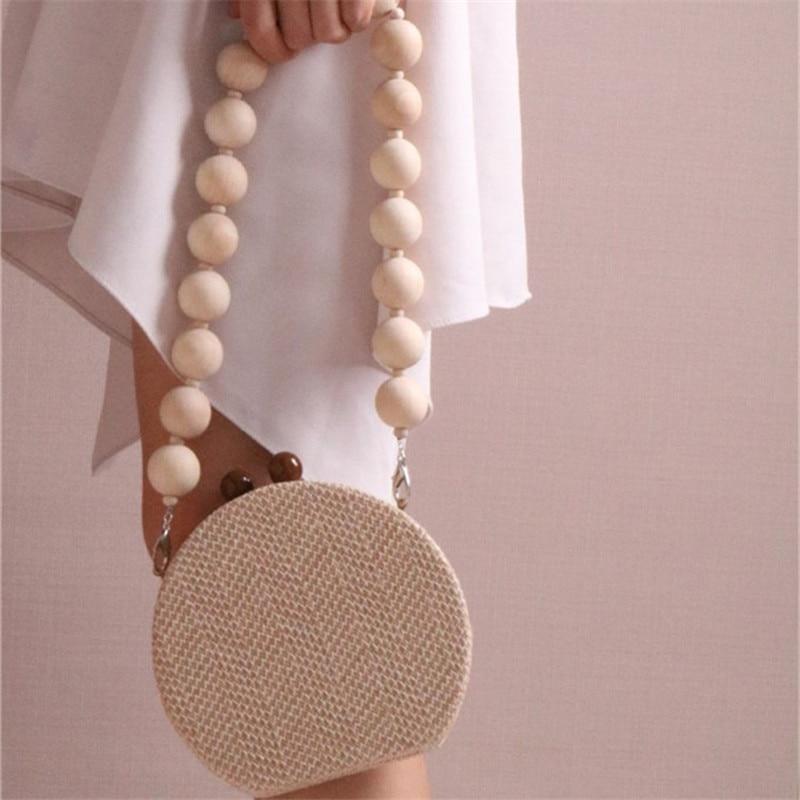 HOT Round Weave Handbag Banquet Clutch Woman Crossbody Bags For Women Circular Strip Shoulder Bags Resin Strap Wood Handle New