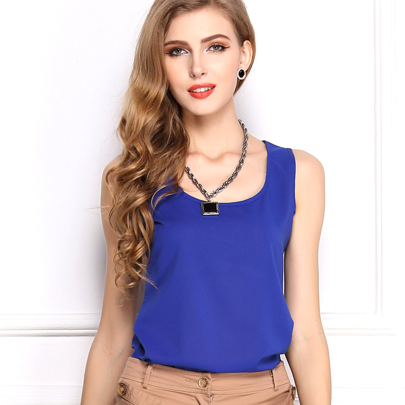 plus size tops cheap plus size women sleeveless chiffon blouse shirt cheap 6009