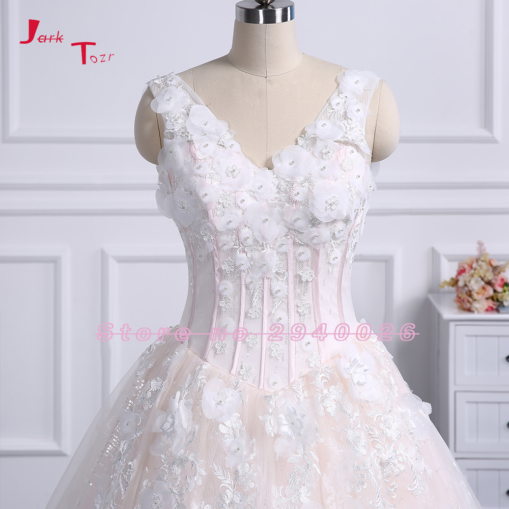 Jark Tozr Abiti da Sposa V-neck Sparkly Sequined A-line Wedding Dress Elegant Light Pink Tulle Lace Up Back Hochzeitskleid 2018