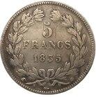 1835 FRANCE 5 F COIN...