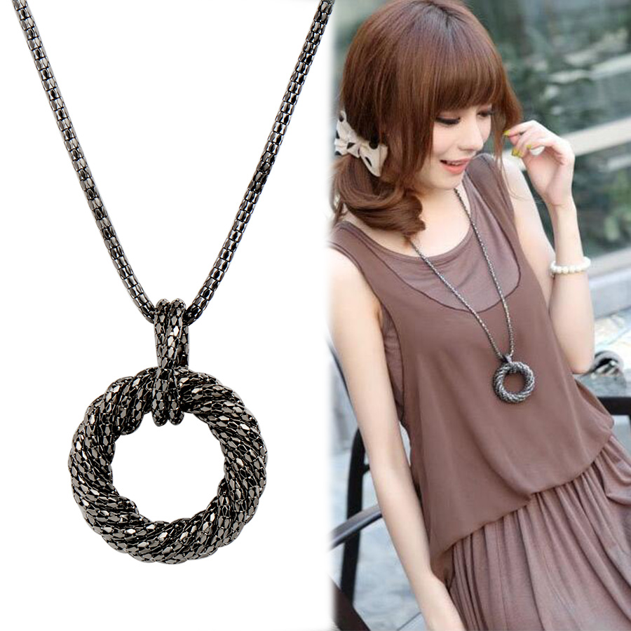 Fashion Long Necklace for Women Big Circle Gold/Silver ...