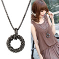 Fashion Long Necklace for Women Big Circle Gold/Silver Color Chain Maxi Necklaces & Pendants Statement Joyeria Accessories