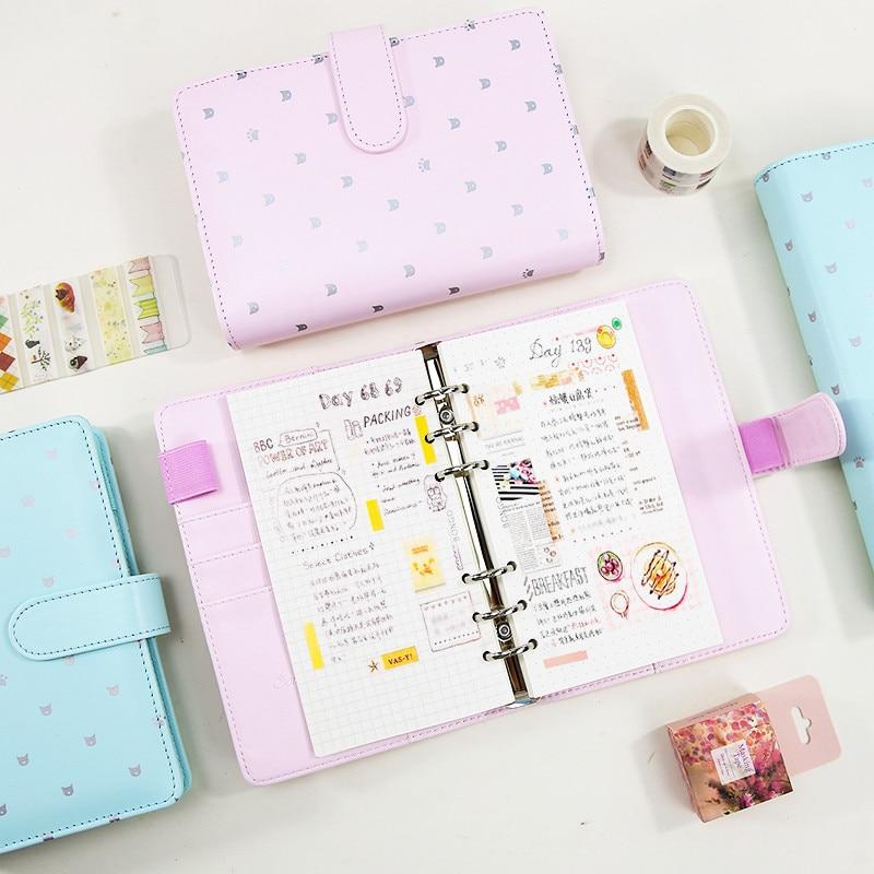 Refillable Dokibook Macaron Pink Mint Planner Travel Journal Kawaii Cute Notebook Filofax Agenda