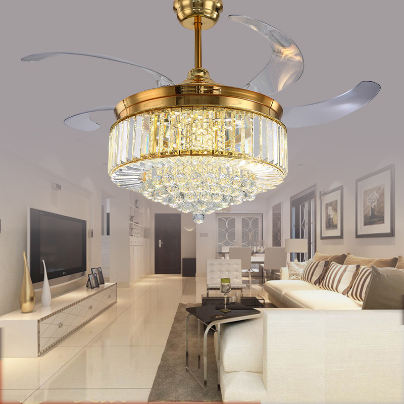 52 inch Gold Modern LED Crystal <font><b>Ceiling</b></font> Fans With Lights Living Room Folding <font><b>Ceiling</b></font> Light Fan Crystal Lamp Remote Control