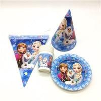 Disney Frozen Elsa Theme 78Pcs/lot Paper 18Cup+18Plate+24Flag Banner Kid Birthday Baby Shower Anniversary Decoration Set Supply