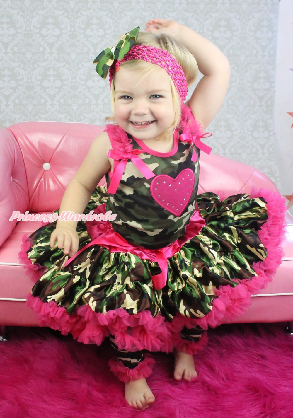 Valentine Hot Pink Heart Camouflage Top Pettiskirt Skirt Girl Cloth Outfit 1-8Y MAPSA0742 xmas red orange yellow black roses brown top baby girl pettiskirt outfit 1 8y mapsa0038