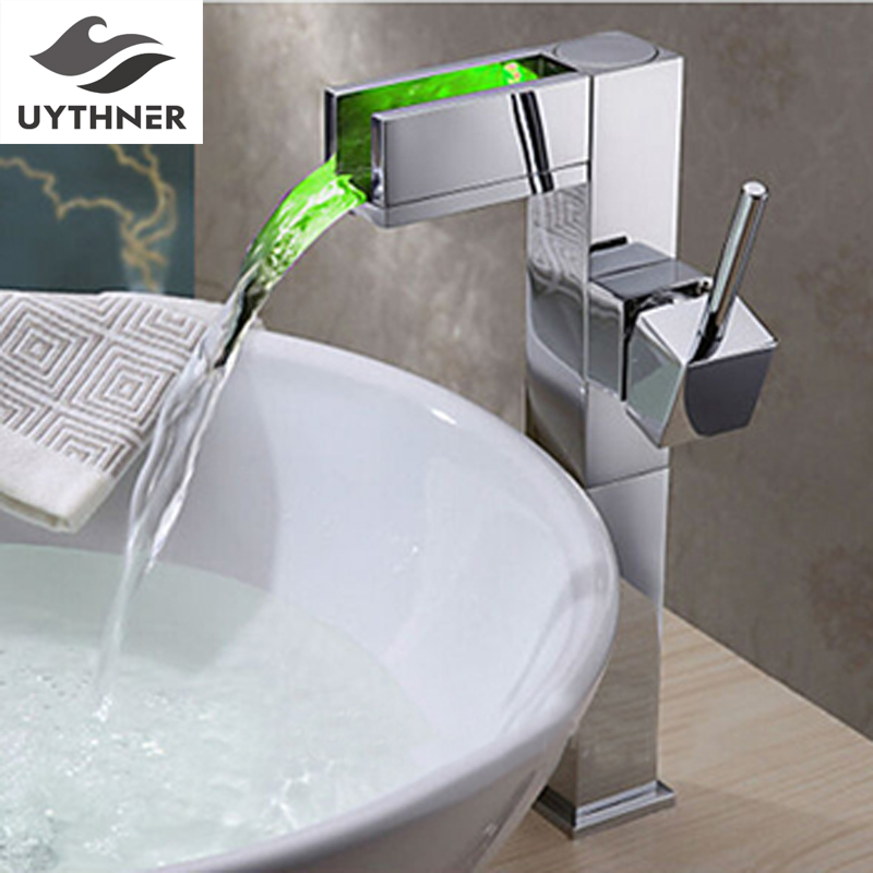 Newly Modern Tall Bathroom Sink Faucet Chrome Finish Waterfall Basin Faucet Color Changing LED Mixer Tap One Handle Deck-mount