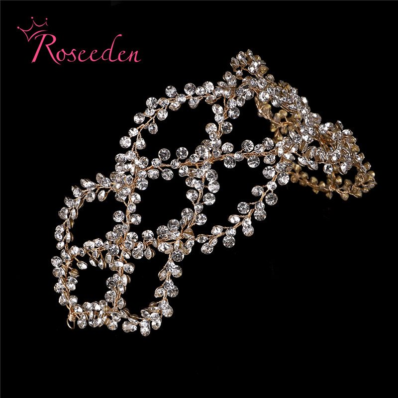 Image 3 - Antique Silver Gold Wedding Bridal Hair Vine Headband Full Rhinestones Floral Wedding Headpiece Hair Accessories Handmaid RE3284Hair Jewelry   -