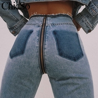 MissyChilli Sexy long back zipper jeans Women ripped high waist jeans denim pants Autumn winter casual streetwear jeans female