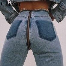 MissyChilli Sexy long back zipper jeans Women ripped high waist jeans