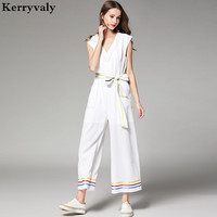 New Overalls for Women Summer Jumpsuits High end Casual Wide legged Playsuits Ladies White Bodysuits Kendall Jenner D2015