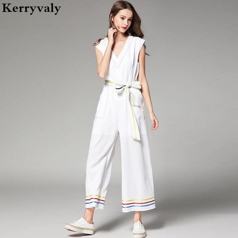 Nouveau salopette pour femme été combinaisons haut de gamme décontracté à larges jambes combishorts dames blanc combinaisons Kendall Jenner D2015