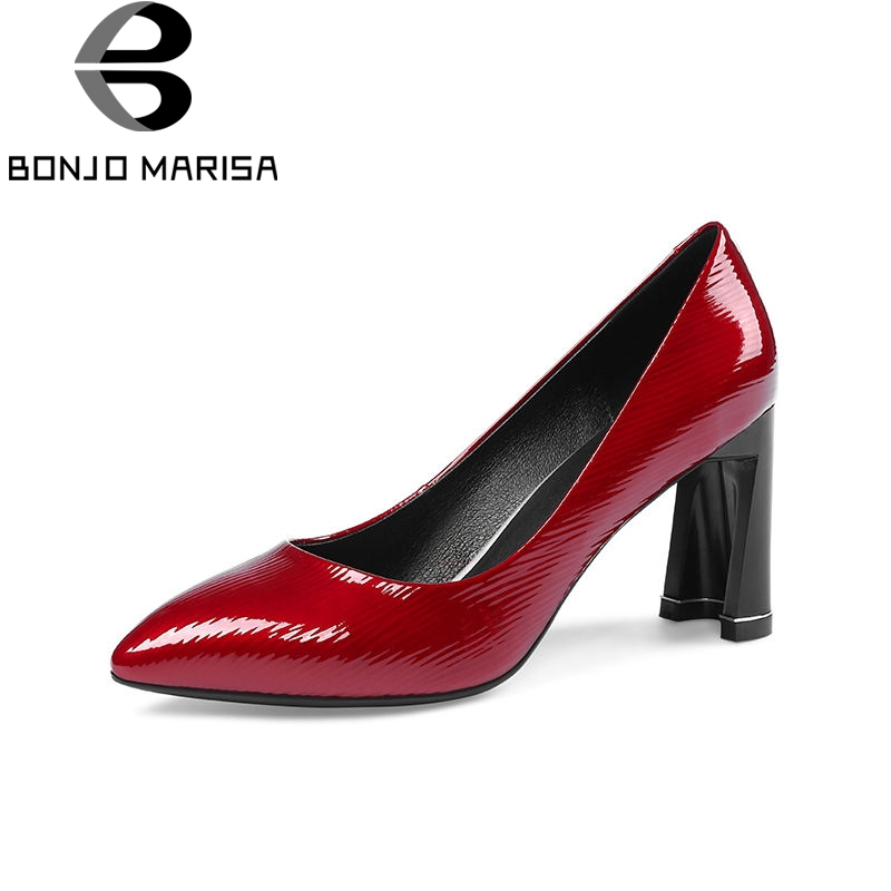BONJOMARISA 2018 Spring Autumn High Quality Genuine Leather Women Pumps Big Size 33-43 New Ol Shoes Woman High Strange Heels 2016 new pumps ol style thick high heels women shoes with bowtie pu leather shoes woman for spring 3 colors size 35 39 xwd717