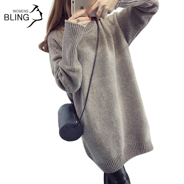 Promotions 2016 Autumn Winter Fashion Turtleneck Sweater Solid Color Knitted Loose Long Sleeve Women Pullovers