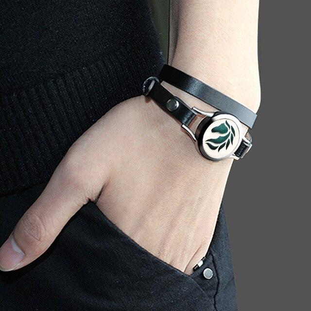 Многослойный браслет на запястье мужской кожаный ремешок диффузор
