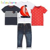 4 шт/2-7years/сезон: весна–лето одежда для маленьких мальчиков Повседневное модная футболка + Джинсы для женщин Boutique Детские костюмы детей Комп...