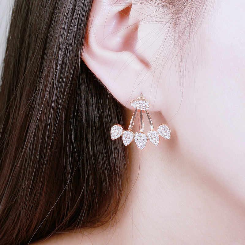 Nowe mody spadek kryształy stadniny kolczyki dla kobiet złoty kolor dwustronna biżuteria kolczyki kobiece ucho brincos w toku