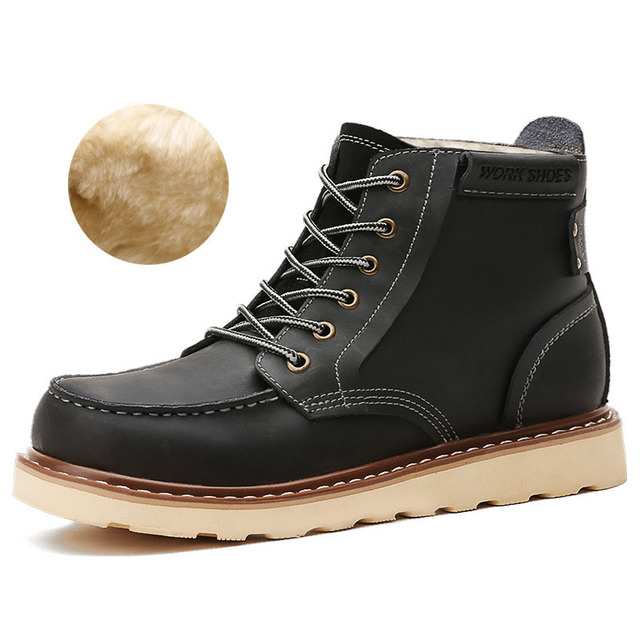 Maden Brand 2016 Genuine Leather Martin Boots High Tops Men Winter Boots With Fur Shoes British Style Tooling Boots Botas Hombre