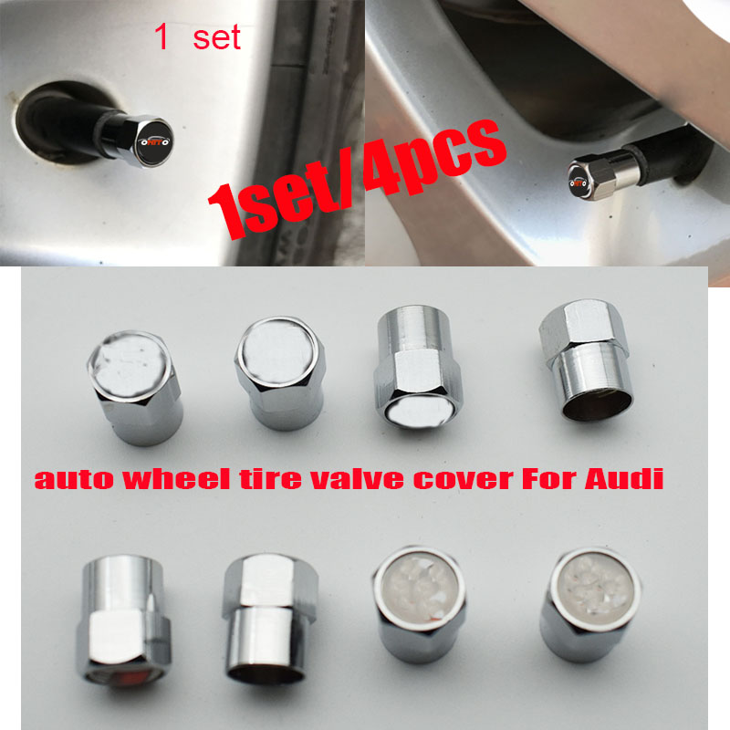 1set Auto Wheel Tire Valve Covers Car Wheel Valve Stem Cap Metal 6corners For Audi A1/A2/A3/A4/A5/A6/A7/A8/Q1/Q3/Q5/Q7 /S