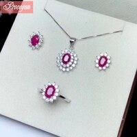 Натуральный рубин комплекты украшений для женщин девочек Подлинная камень с циркон Классический Ожерелье Кольцо Серьги 925 пробы серебро #187
