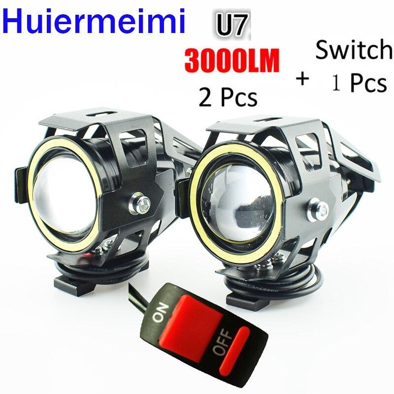 Huiermeimi 1Pair Motorcycle LED Headlight 3000LM Moto Spotlight 125W 12V U5 U7 LED Motorbike Driving Head Light Decorative Lamp