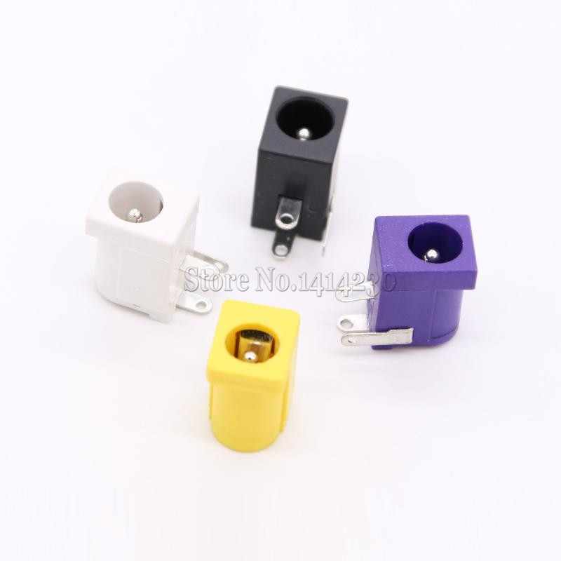 10Pcs Hot Sales DC-005 Black White Yellow and Purple DC Power Jack Socket Connector DC005 5.5*2.1mm 2.1 socket Round the needle