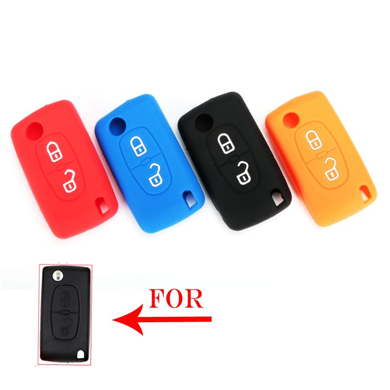 LIN&GUO Silicone Remote Car <font><b>Key</b></font> Case <font><b>Key</b></font> cover for <font><b>Peugeot</b></font> 208 207 3008 <font><b>308</b></font> 508 408 2008 407 307 206 2 Button Citroen Sega C5 image