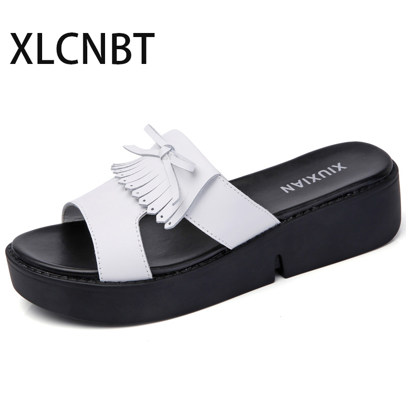 Women Sexy High Heel slides Black Peep Toe Platform fashion Ladies Leather Sole Slippers Femal Slip On Sandals Shoes wedges muffin wedge high heel stretch women extreme fetish casual knee peep toe platform summer black slip on creepers boots shoes