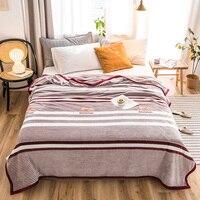 Stripe Alta qualidade Engrossar colcha de pelúcia cobertor 200x230 cm Alta Densidade Cobertor de Flanela Super Macio para o sofá /cama/Carro