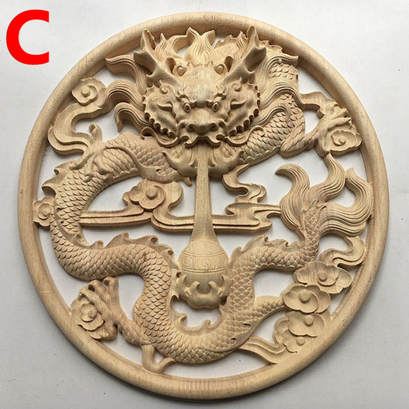 Wood Carving Decals, Chinese-style Home Decoration, Dragon And Phoenix Blessing, Antique Solid Wood Wall Deca(A193)