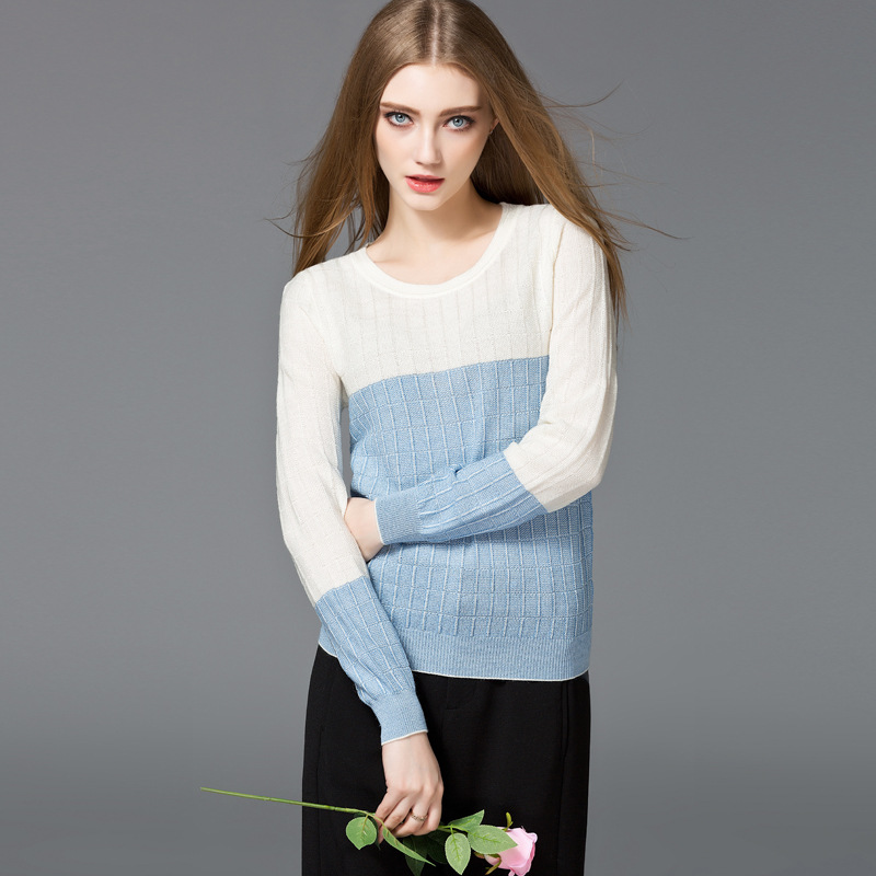 2016 Winter Sweater Women Pullover Full Jumper Blue/Pink Colors O-Neck Slimfit Long Sleeve Blouse Collision Christmas Pull Femme