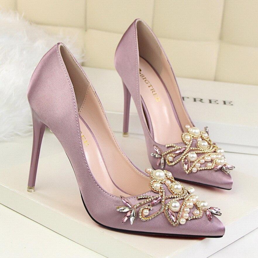 Bombas rosado Solo Elegante Altos 3209 púrpura rojo Primavera Negro Rhinestone Nueva gris 7 Color Satén 2017 Otoño Señaló Zapatos Seda Thin Sexy blanco Tacones Mujeres I1nqZ