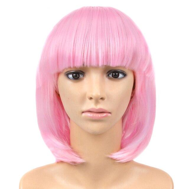 Alileader أومبير قصيرة مستقيم خصلات الشعر المستعار المرأة بوب نمط الباروكة تأثيري مقاومة للحرارة الاصطناعية براون شقراء الأزرق الوردي شعر مستعار أسود اللون