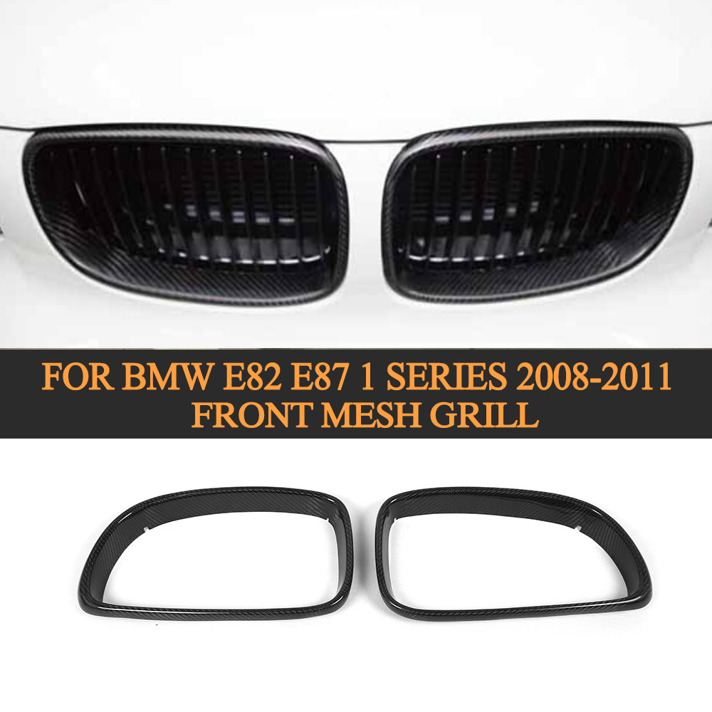 Front Mesh Grill Grille Cover Carbon Fiber Car Styling For BMW E82 E87 1 Series 2008 2009 2010 2011