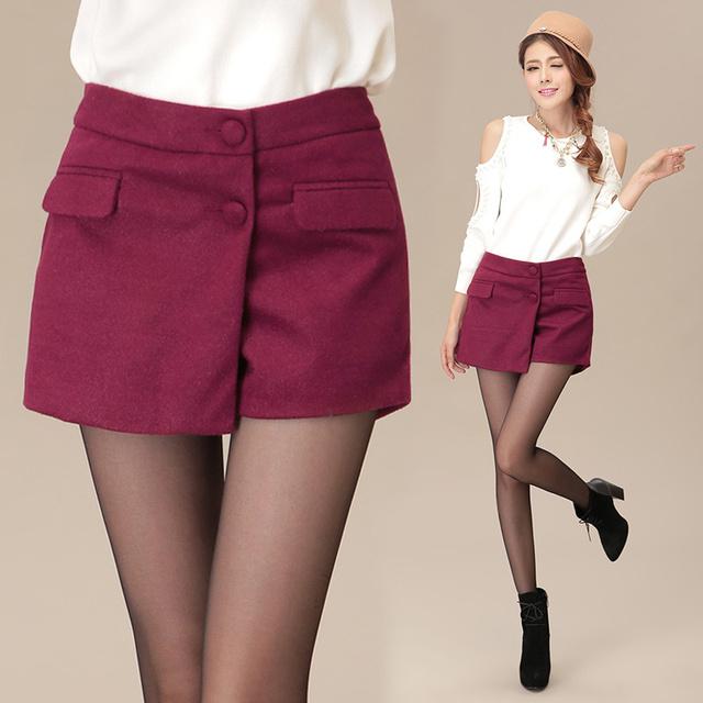2016 de invierno más el tamaño de lana faldas pantalones cortos saia mujeres asimétrico de cintura alta culottes de lana negro/rojo