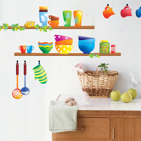 Colorful kitchen sticker creative interior design kitchen for Creative interior design kitchen