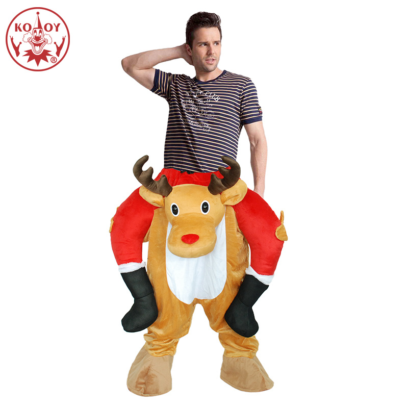 Funny Deer Costume Ride On Me Animal Pants Carry Back Fancy Up Party Costumes Halloween Christmas Festival Clothes