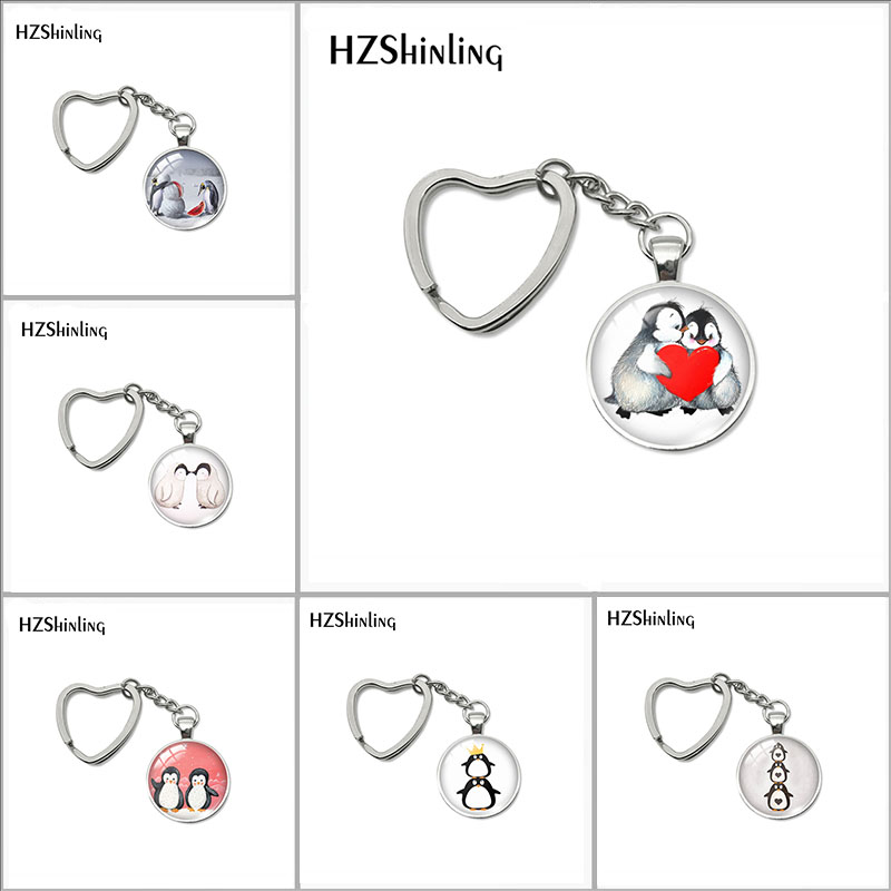 2018 New Love Penguins Kissing Keyring Cute Penguin Painting Heart Keychain Silver Hand Craft Jewelry Glass Dome Accessory