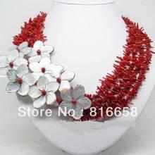 Очаровательно! Натуральный красный коралл ракушка цветок ожерелье